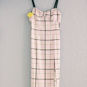 Urban Outfitters Pink Plaid Satin Dress
